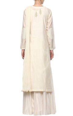 Off-white floral kurta set