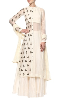 Joy Mitra Off-white kurta & sharara set