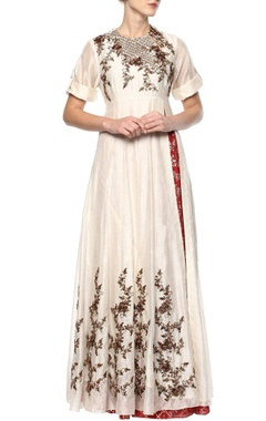 Joy Mitra Off-white & red kurta set