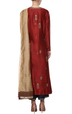 Maroon chanderi kurta set