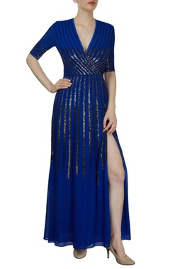 cobalt blue sequined gown