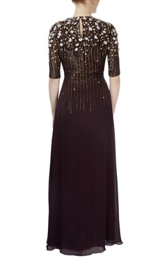 Dark wine sequined gown