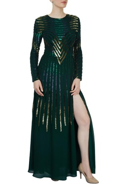 emerald sequined gown