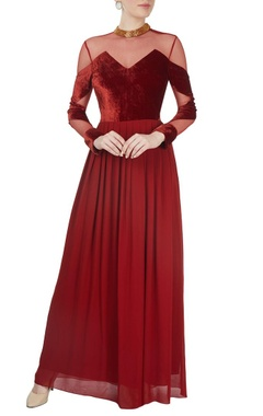 Red velvet peekaboo gown
