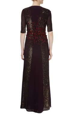 dark wine embroidered gown