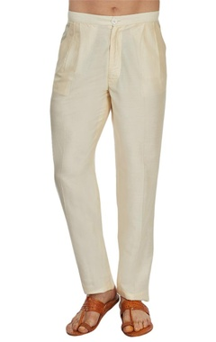 Cream silk straight pant