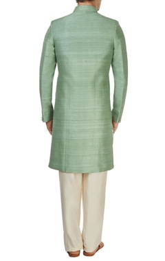 Green rawsilk sherwani