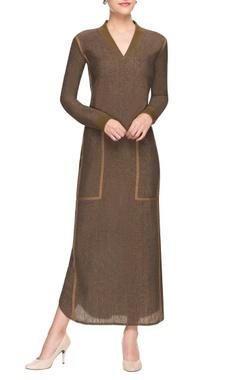Sand brown lurex dress.