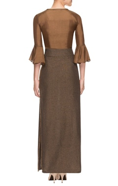 Brown silk top and lurex skirt