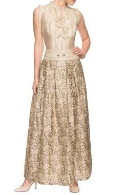 ivory silk top and printed skirt