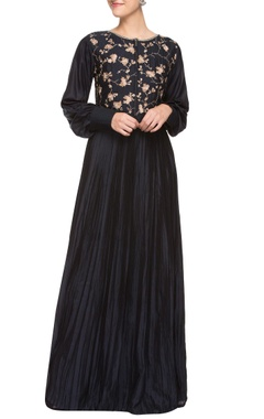 Navy blue silk pleated maxi