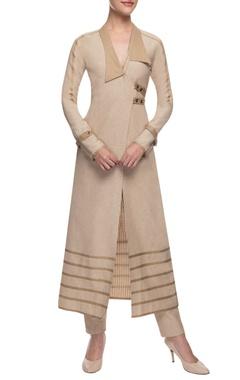 beige wrap jacket & trousers