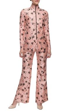blush pink printed jacket & trousers