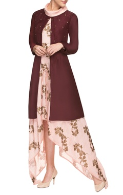 Pink asymmetrical dress with jacket