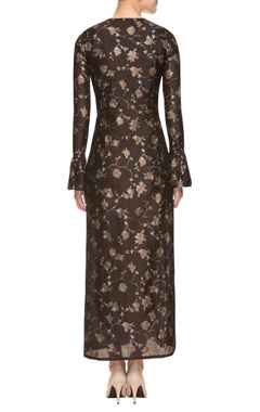 Brown printed overlapping dress