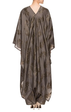 Grey floral print kaftan with low crotch pants