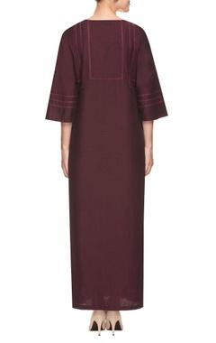 Wine shirt dress with side slits