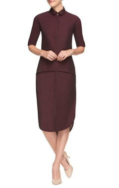 Wine asymmetrical dress with collar