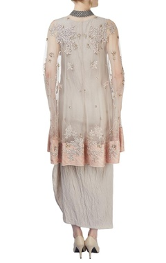 Beige embroidered cape dress