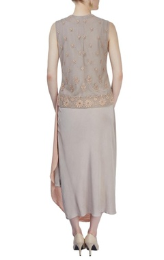 Light grey embroidered gilet dress