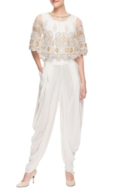 White cowl jumpsuit with cape