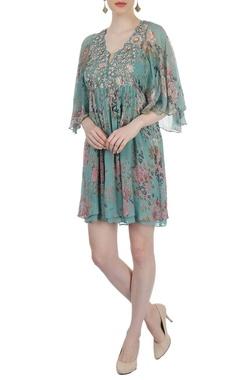 Sea green multi colored tunic dress