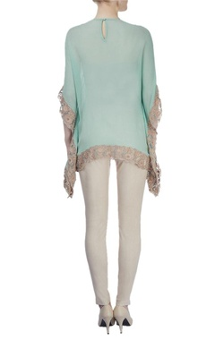 Sea green embroidered poncho