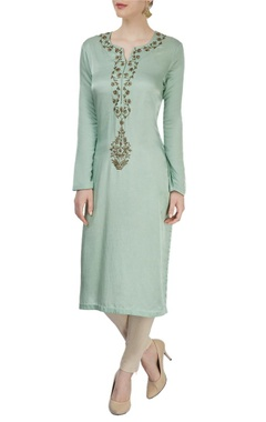 Light green and beige embroidered kurta.
