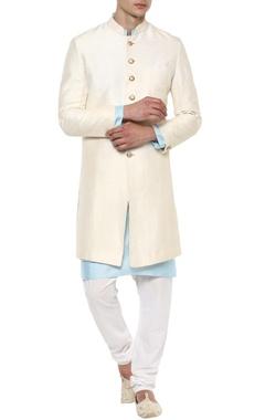Off-white raw silk achkan jacket set