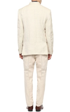 beige bandhgala & trouser set