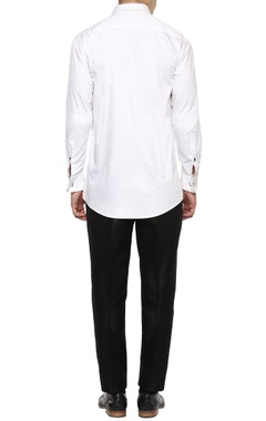 White vertical pintuck tuxedo shirt