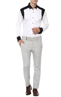White & black panelled shirt