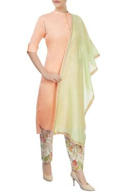 peach kurta with embroidered pants & dupatta