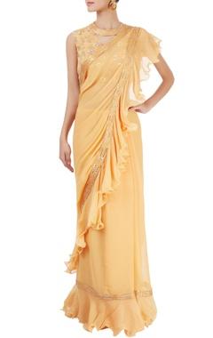 Mango yellow ruffled sari with blouse