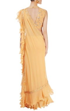 mango yellow ruffled sari with blouse
