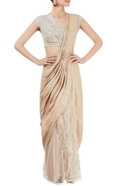 Cream sari and blouse with zardozi