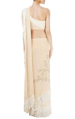 Cream & beige tasseled sari with blouse