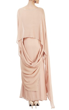 beige cape gown with embroidery