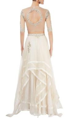 white embellished skirt set