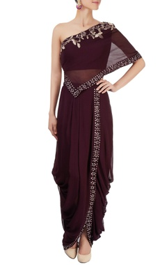 deep purple dhoti skirt with one shoulder top