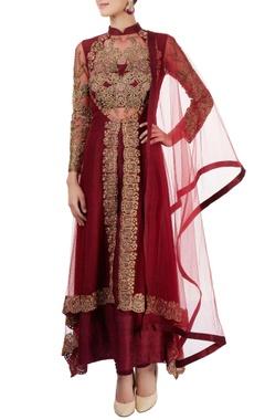 maroon embroidered kurta set