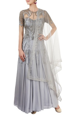 grey anarkali set with embroidery