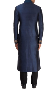Teal blue & black sherwani with pants