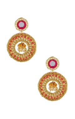 Gold & pink hoop earrings