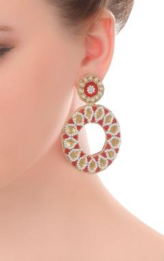 Gold gotta earrings with zardozi & beads