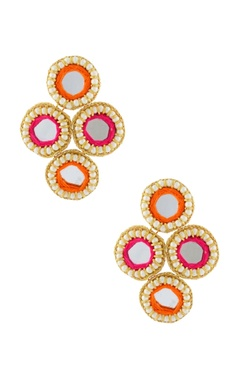 orange & pink earrings with mirrors