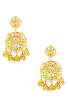 Gold finish earrings with small jhumkas