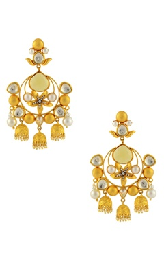 Gold finish chandelier earrings with floral motif