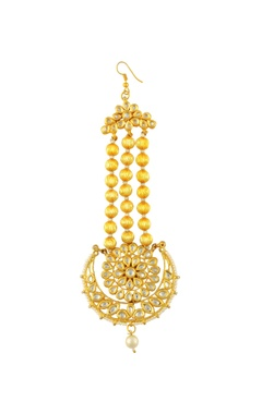 Gold finish maangtikka with pearls