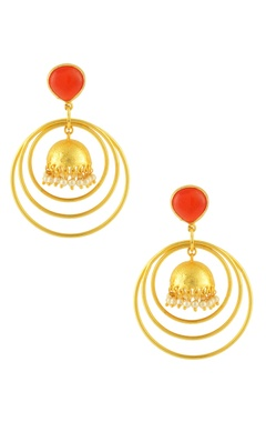 Gold finish ring earrings with red stone